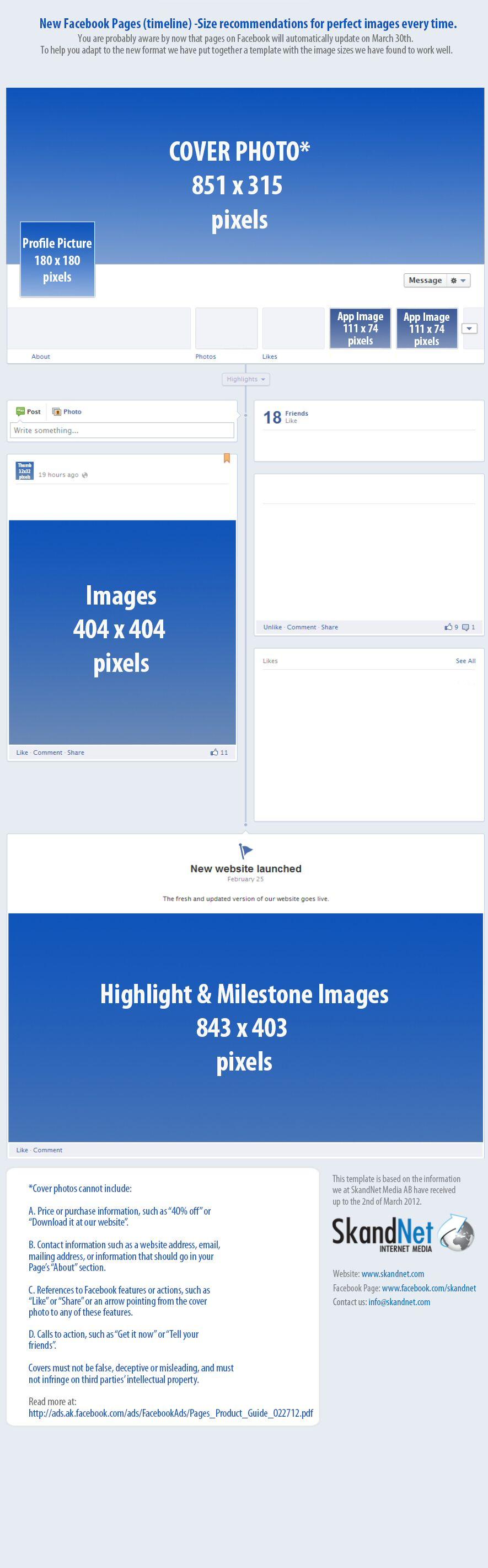 Tamaños recomendados de las imágenes del Timeline de Facebook