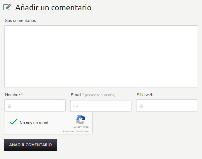 Ejemplo de integración de reCAPTCHA in WordPress coments form: www.qasolutions.net/plugin-antispam-para-wordpress