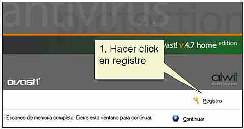 Registro de Avast Home Edition