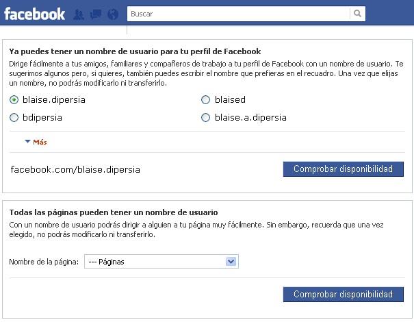 Personalizar Facebook username