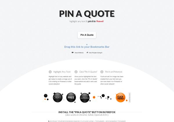 Pin A Quote. hacer pins de textos directamente a Pinterest