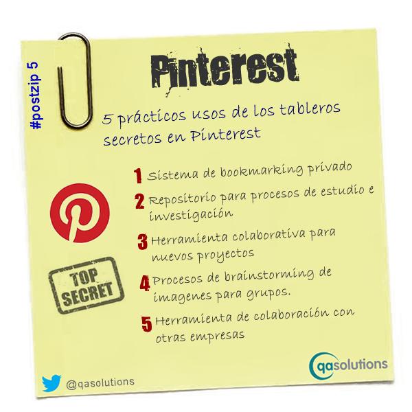 Infografía sobre distantas utilidades de los tableros secretos en Pinterest