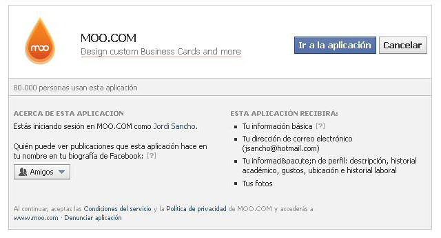 Autorización y permisos aplicación Facebook de Moo