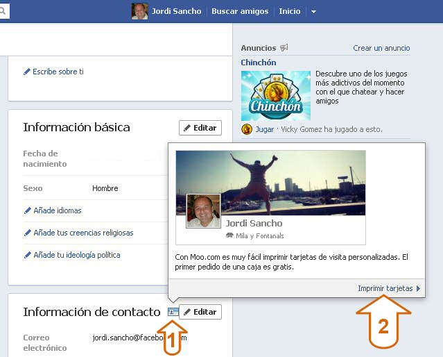 Acceder a la aplicacion Facebook de Moo para tarjetas de visita