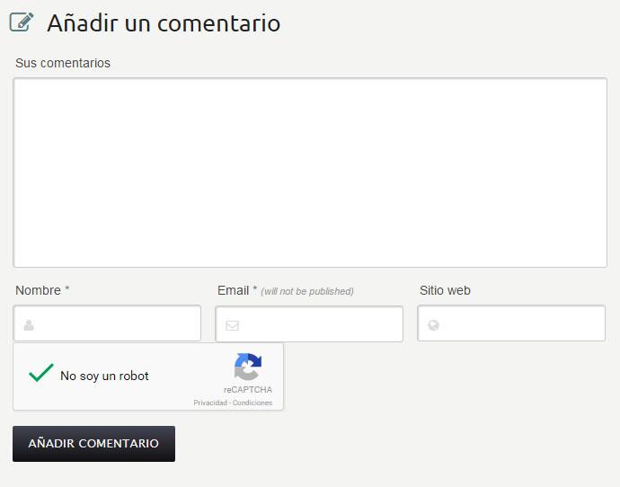 Ejemplo de formulario de comentarios con el plugin anispam